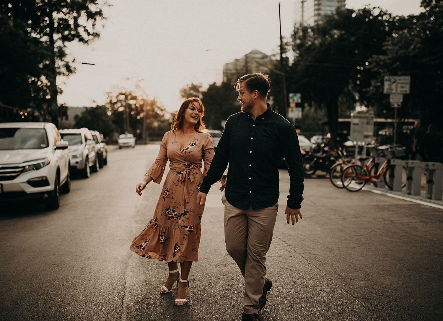 Heather & Alex's Rainey Street Bar District Engagement Photo Shoot in Austin, Texas