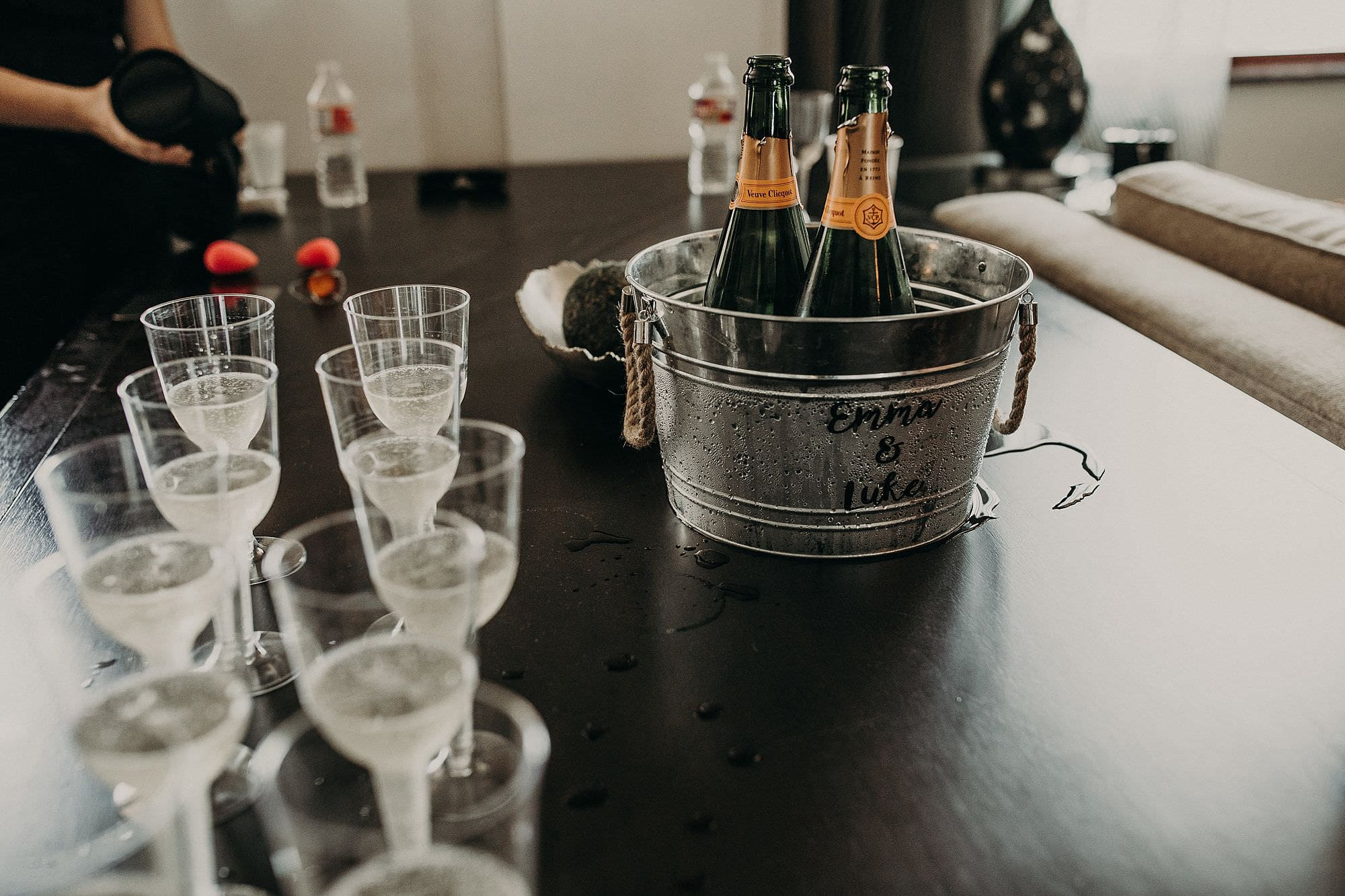 champaign on wedding day