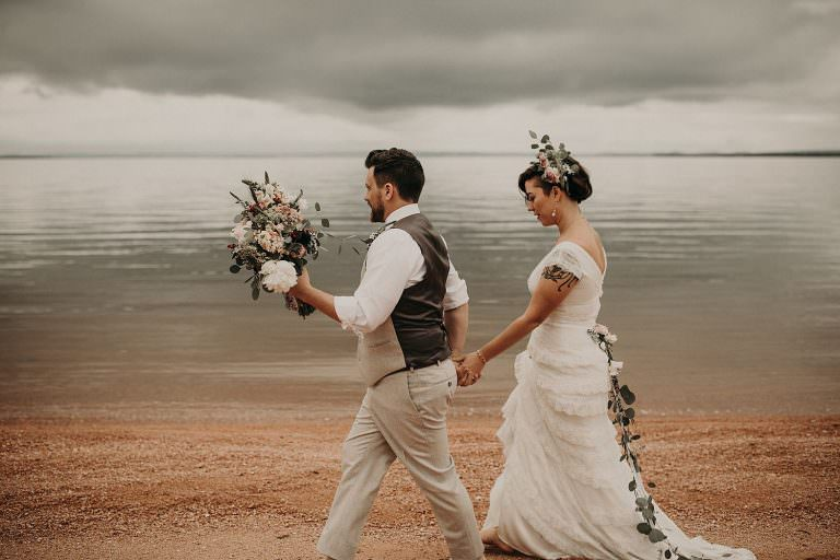 Intimate lake house destination wedding