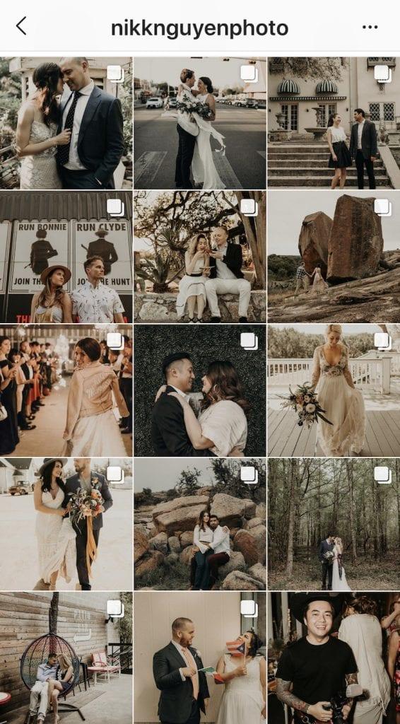 Screenshot of Austin, Texas wedding photographer Nikk Nguyen's Instagram posts.