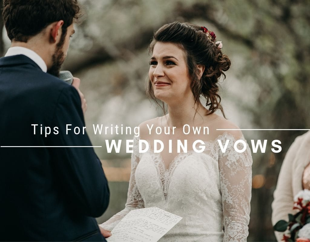 "Bride shedding happy tears when hearing her groom's wedding vows, with a text that reads ""tips for writing your own wedding vows"" by Austin, Texas wedding photographer Nikk Nguyen"
