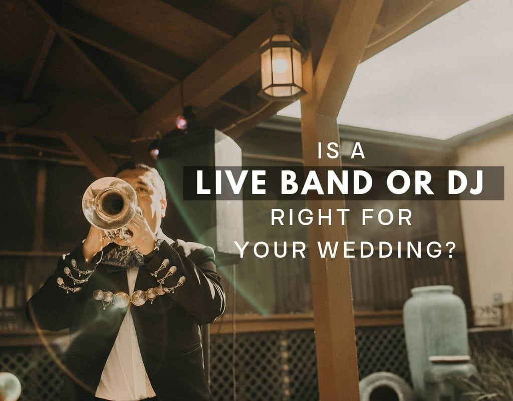 "Photo of a trumpet player with the text ""is a live band or dj right for your wedding"" photographed by Austin, Texas wedding photographer Nikk Nguyen."