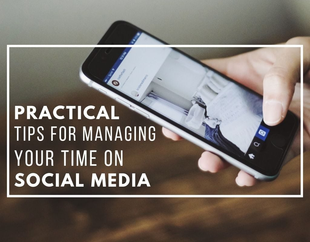 "Photo of a iPhone on Instagram with text reading ""Practical tips for managing your time on social media"" by Austin Texas wedding photography Nikk Nguyen"