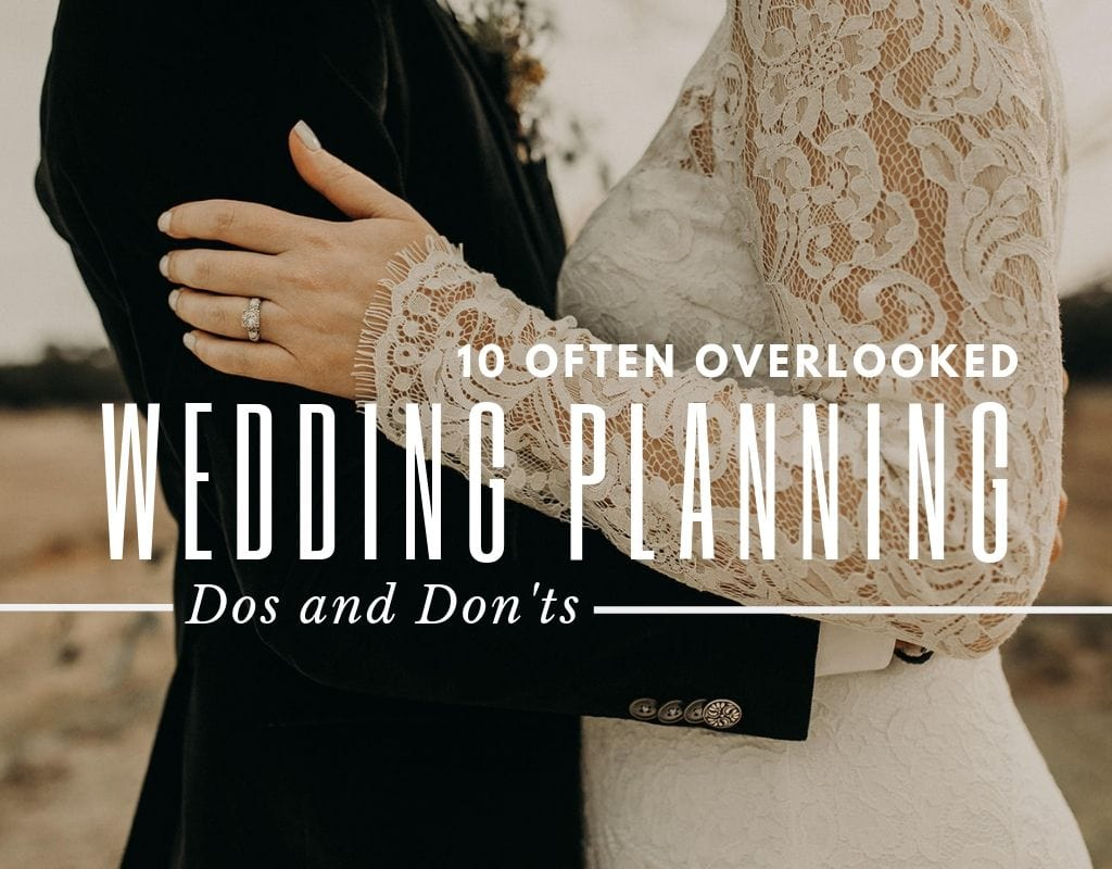 "Photo of a bride and groom holding each other with the text ""10 Often Overlooked Wedding Planning Dos and Don'ts"" by Austin, Texas wedding photographer, Nikkolas Nguyen."