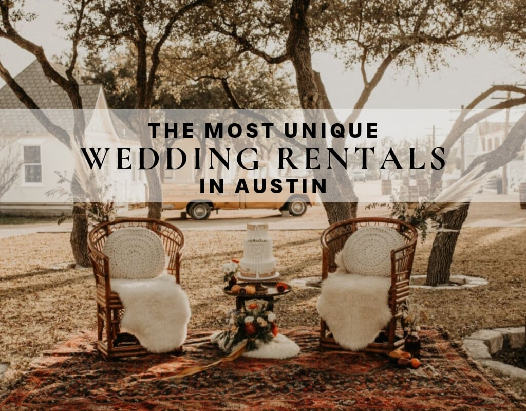 "Photo of two chairs set up outside for a bohemian wedding with text that reads ""The most unique Wedding Rentals in Austin"" Photographed by Austin, Texas wedding photographer NIkk Nguyen"