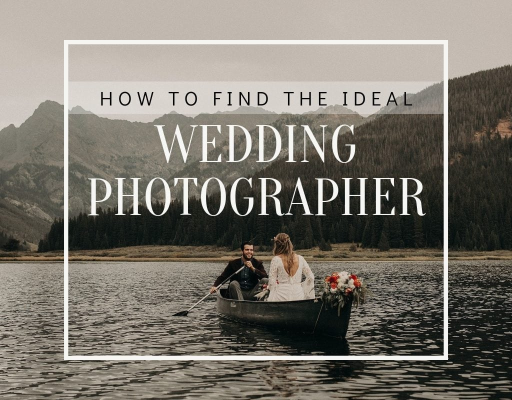 "Photo by Austin, Texas wedding photographer Nikkolas Nguyen of a wedding couple in a boat with the text ""how to find the ideal wedding photographer"" at Pinery River Ranch in Vail, Colorado"
