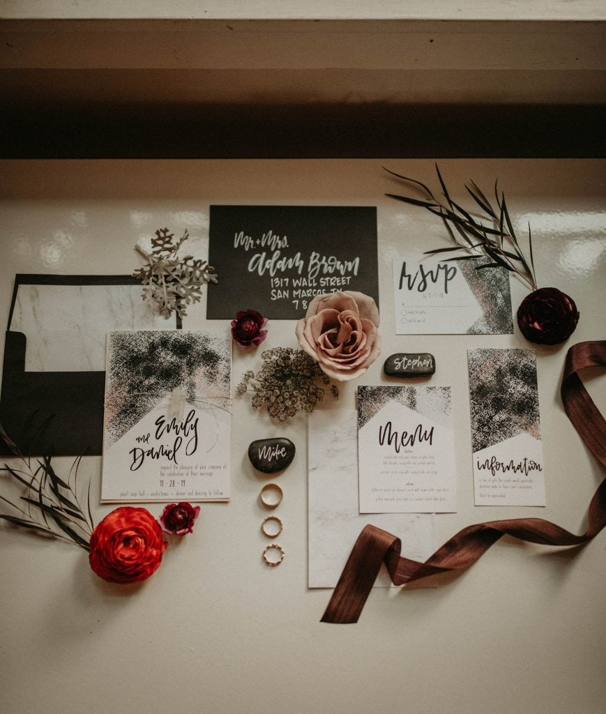 Wedding stationary with beautiful calligraphy, Photographed by Austin, Texas wedding photographer NIkk Nguyen
