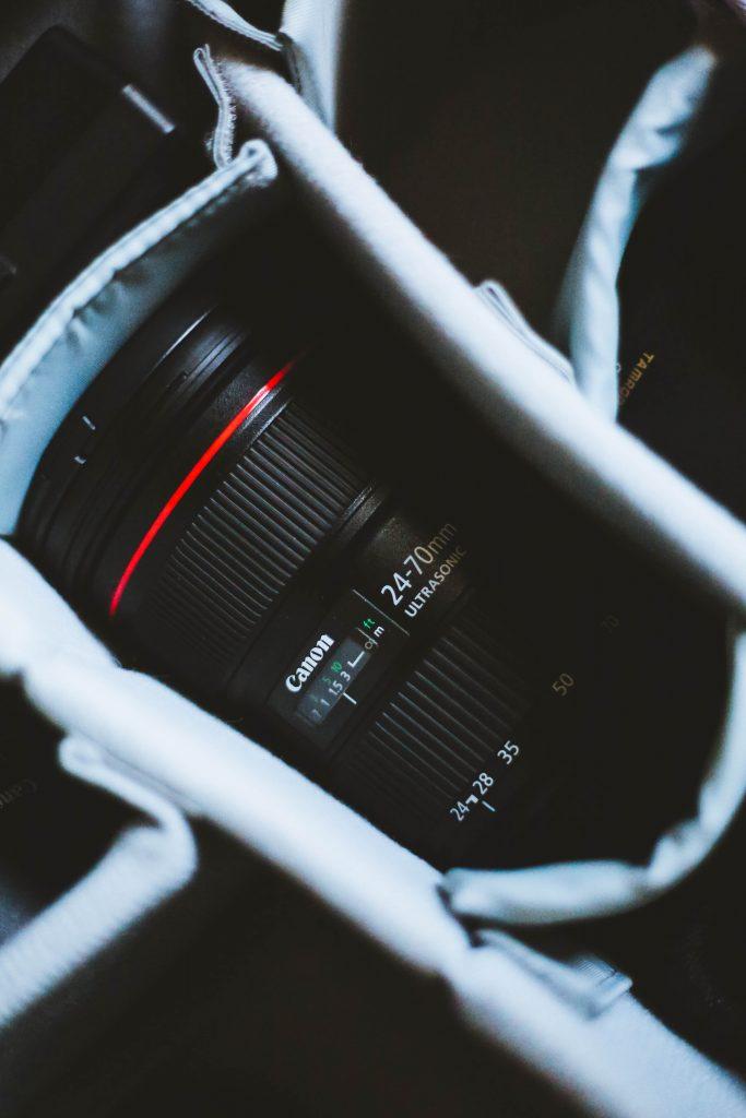Photo of a canon camera lens for shooting a wedding