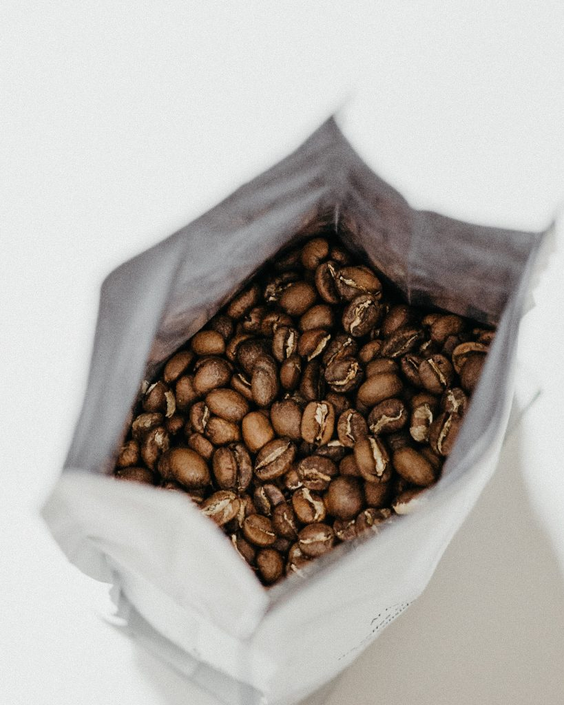 Photo of an opened bag of coffee beans