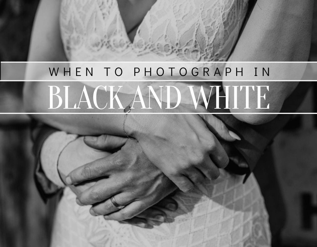 """Photo of an embrace between a groom and a bride, photographed by Austin, Texas wedding photographer NIkk Nguyen, with text that reads """"when to photograph in black and white"""""""