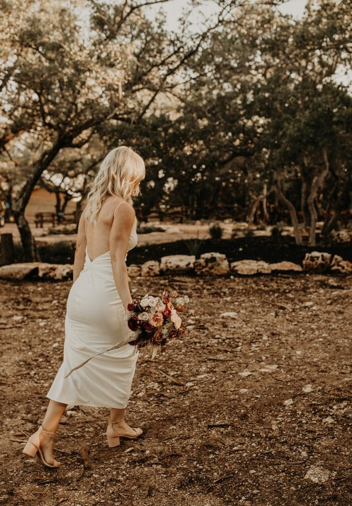 Bride walking down for her wedding ceremony, Photographed by Austin, Texas wedding photographer NIkk Nguyen