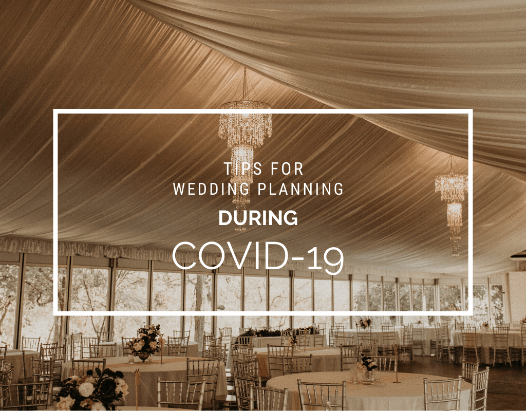 "Empty venue with chairs, decorated tables, and chandeliers with ""Tips for Wedding Planning During Coronavirus (COVID-19)."" Photographed by Austin, Texas wedding photographer Nikk Nguyen"