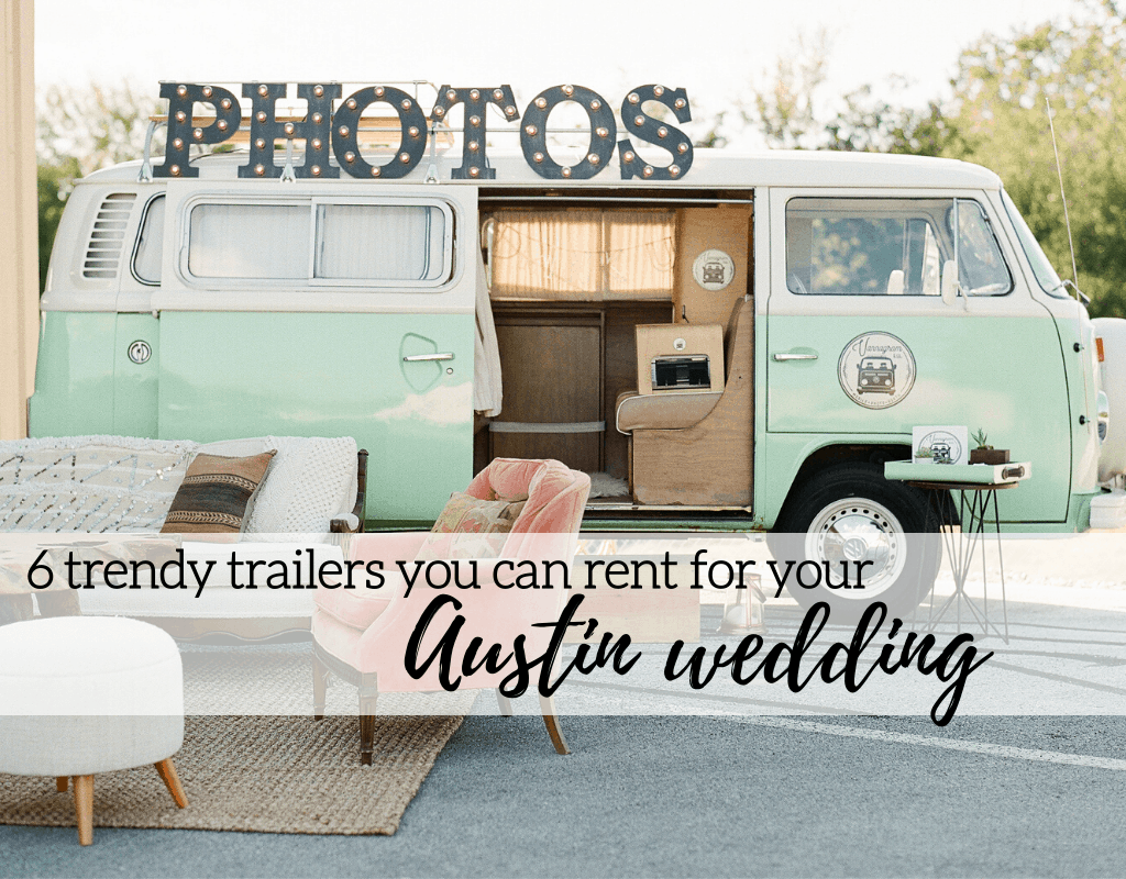 "Trendy trailer to rent for weddings in Austin, Texas with pink chair and white couch with ""6 Trendy Trailers you can Rent for your Austin Wedding."" Photographed by Austin, Texas wedding photographer Nikk Nguyen"
