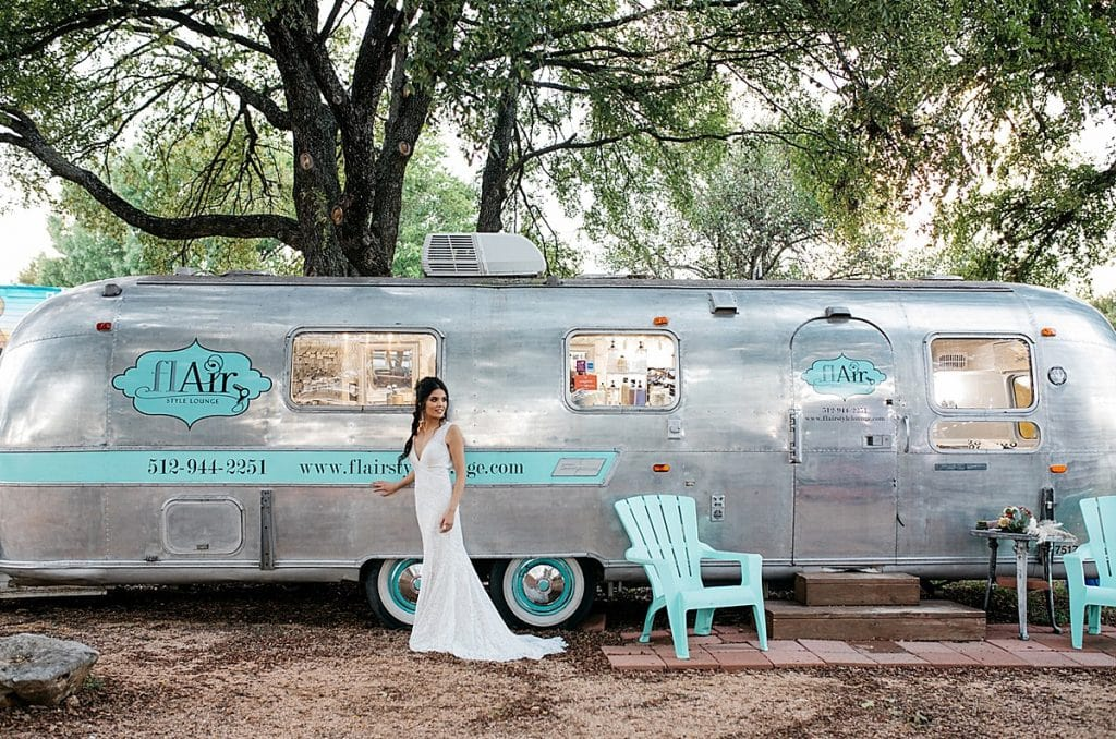 Flair Style Lounge mobile salon with hairstylist chairs. Blog by Austin, Texas wedding photographer Nikk Nguyen