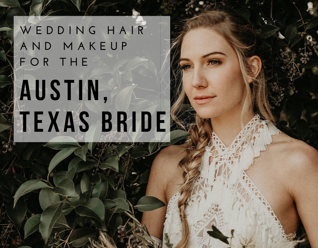 "Austin, Texas bride standing in front of a bush with her hair and makeup done by LUSTREbella with ""Wedding Hair and Makeup for the Austin, Texas Bride."" Photographed by Austin, Texas wedding photographer Nikk Nguyen"