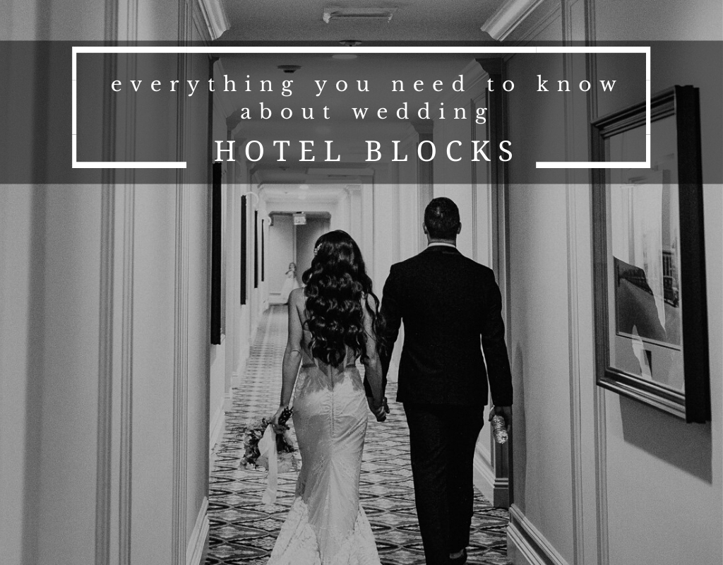 "Couple holding hands walking down a hotel hallway with ""Everything You Need to Know About Wedding Hotel Room Blocks."" Photographed by Austin, Texas wedding photographer Nikk Nguyen"