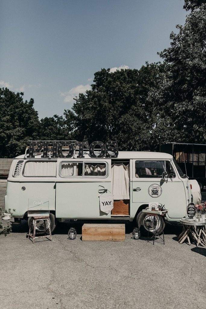 A photo of the Volkswagen van photo booth owned by Vannagram & Co, an Austin, Texas company that offers photo booth rentals. Photograph by Austin, TX wedding photographer Nikk Nguyen.