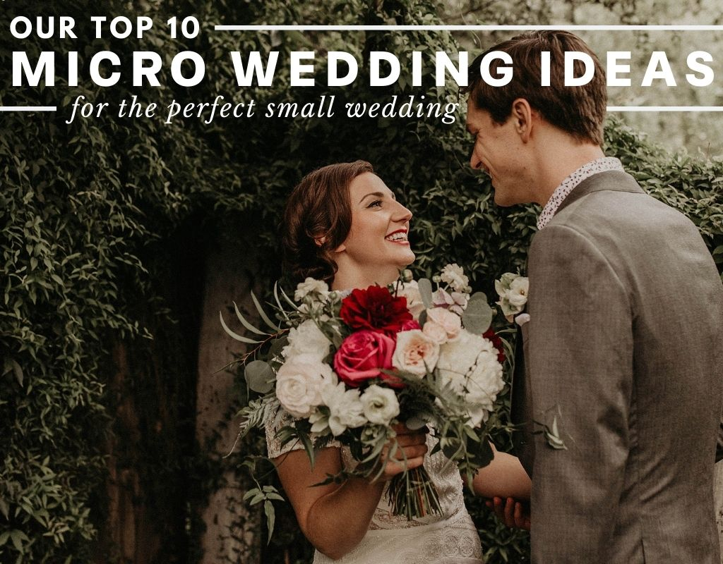 Bride and groom smile at each other during their micro wedding in Austin, TX. Photograph by Austin, Texas wedding photographer Nikk Nguyen. Image overlaid with text that reads Our Top 10 Micro Wedding Ideas for the perfect small wedding.
