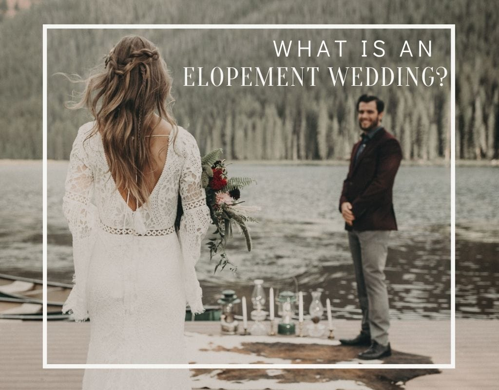 A bride walks toward the groom as he stands at the altar near the river at Piney River Ranch in Vail, Colorado during their elopement. Image overlaid with text that reads What is an elopement wedding? Photograph by Nikk Nguyen, an Austin, Texas wedding photographer.