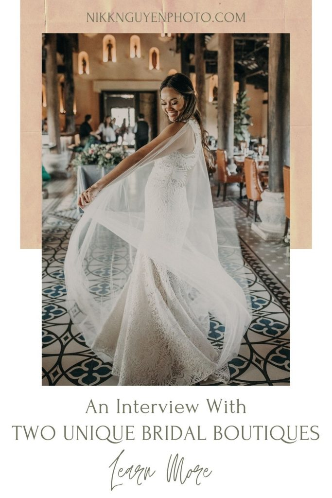 A bride spins around in her wedding dress at a Texas bridal boutique. Photo by Nikk Nguyen from Nikk Nguyen Photo, an Austin, Texas wedding photographer. Image overlaid with text that reads An Interview With Two Unique Bridal Boutiques.