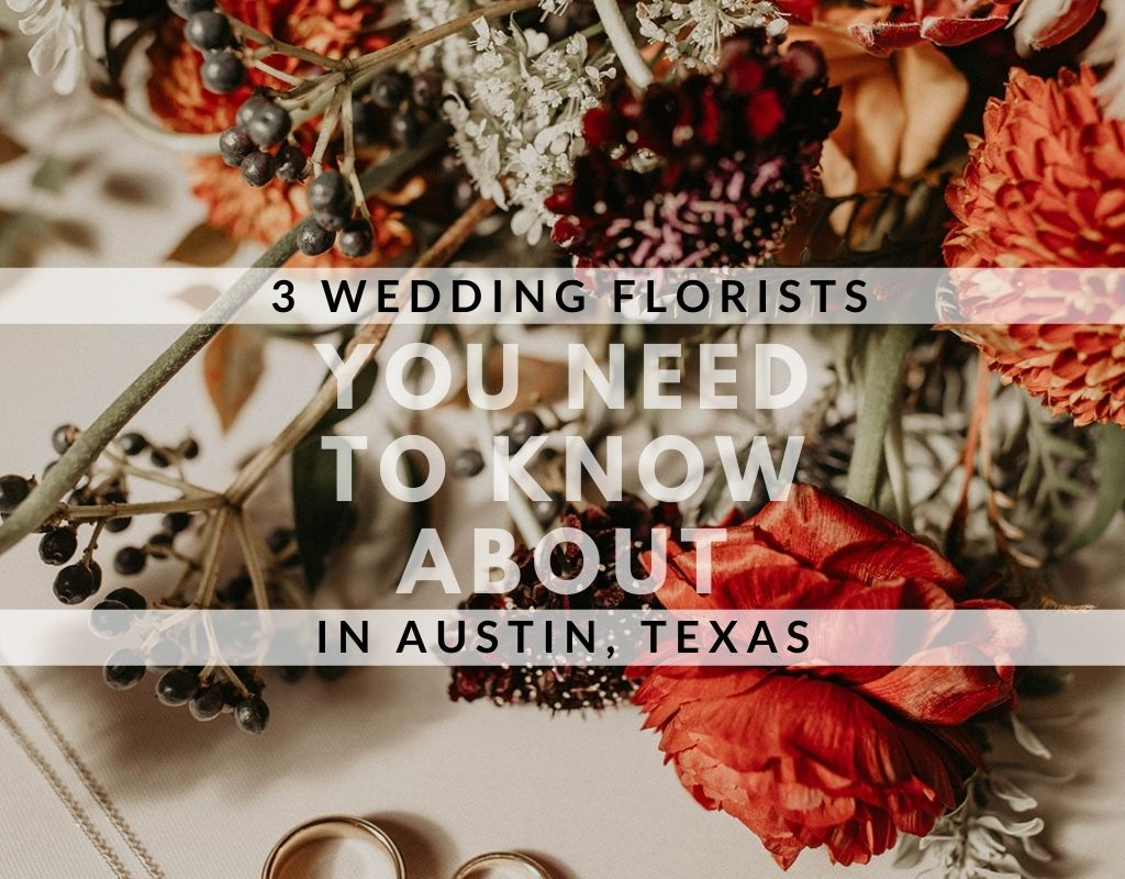 Close up of whimsical bohemian bouquet by Gypsy Floral and Events, an Austin, TX floral designer. Image overlaid with text that reads 3 Wedding Florists You Need to Know About in Austin, Texas. Image by Austin, TX wedding photographer Nikk Nguyen.