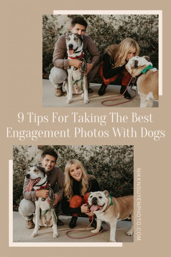 An engaged couple cuddle their pups during their engagement shoot. Images by Austin, Texas wedding photographer Nikk Nguyen. Images overlaid with text that reads 9 Tips for Taking The Best Engagement Photos With Dogs.