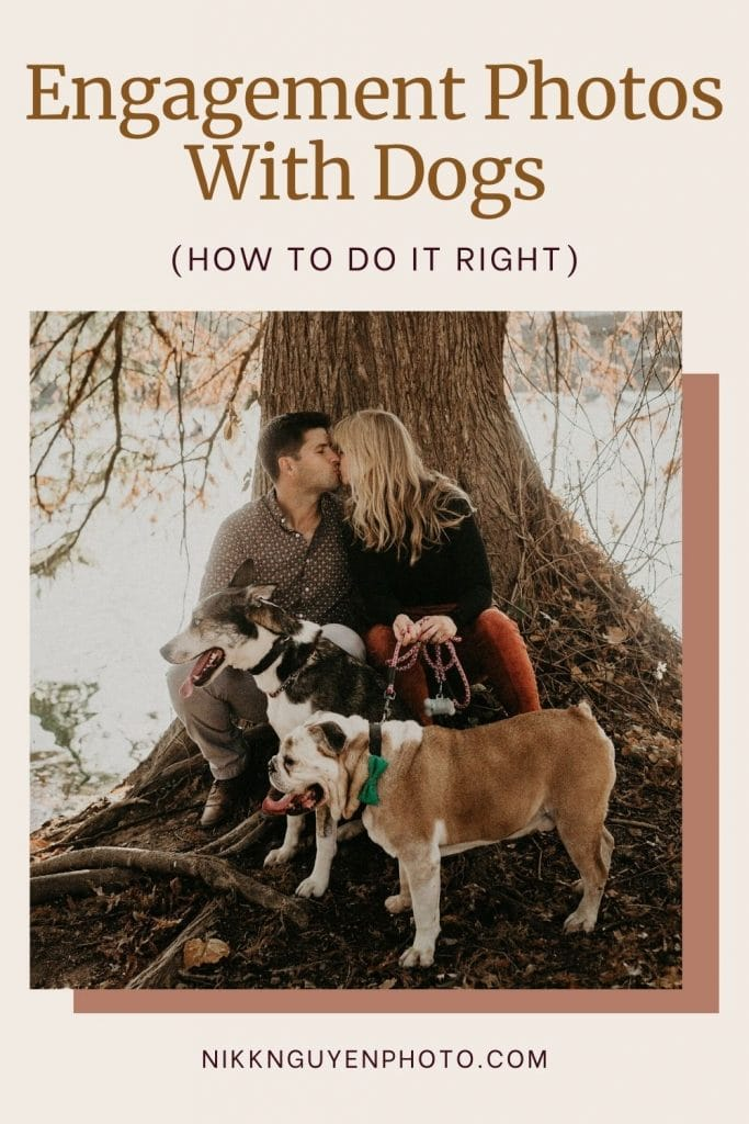 Engaged couple kiss while posing with their dogs during their engagement shoot. Image by Austin, Texas wedding photographer Nikk Nguyen.