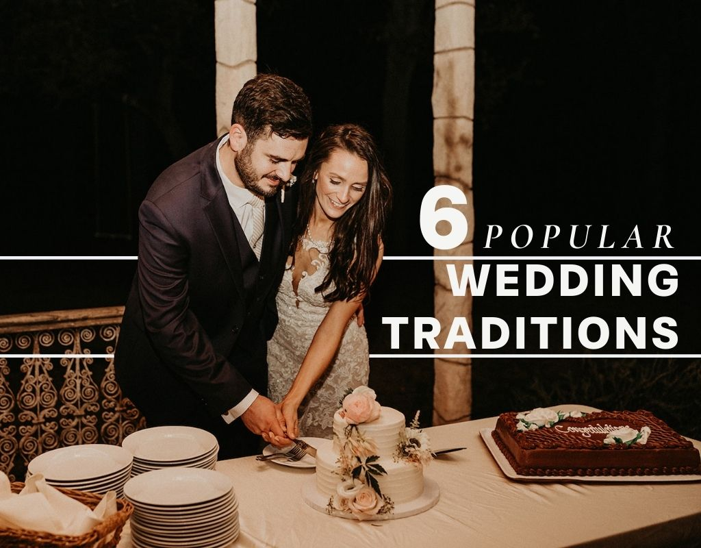 A bride and groom cut their cake together. Image by Nikk Nguyen Photo, an Austin, Texas based wedding photographer and overlaid with text that reads 6 Popular Wedding Traditions.