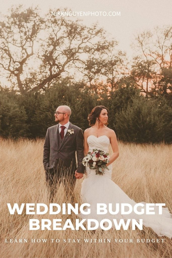 A bride and groom pose in a field during their wedding photographed by Austin, Texas wedding photographer Nikk Nguyen. Image overlaid with text that reads Wedding Budget Breakdown Learn How to Stay Within Your Budget.