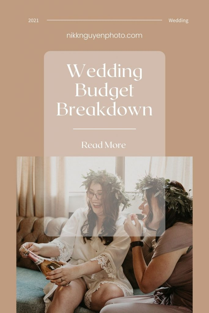 Image of a bride opening champagne with her bridesmaid while they get ready by Austin, Texas wedding photographer Nikk Nguyen overlaid with text that reads Wedding Budget Breakdown Read More.