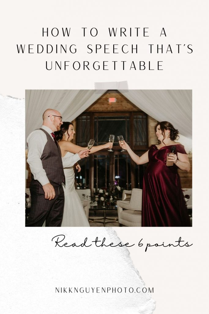 Bride and groom do a toast with a bridesmaid who just gave an unforgettable wedding speech. Image by Austin, Texas wedding photographer Nikk Nguyen and overlaid with text that reads How to Write a Wedding Speech that's Unforgettable. Read these 6 points.