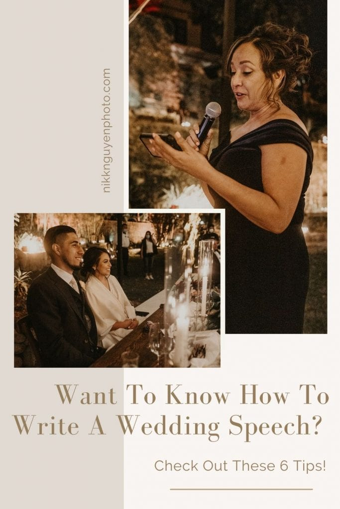 Images of a bride and groom sitting at their table while they listen to a loved one give a wedding speech. Images by Austin, TX wedding photographer Nikk Nguyen and overlaid with text that reads Want to know how to write a wedding speech? Check out these 6 tips!