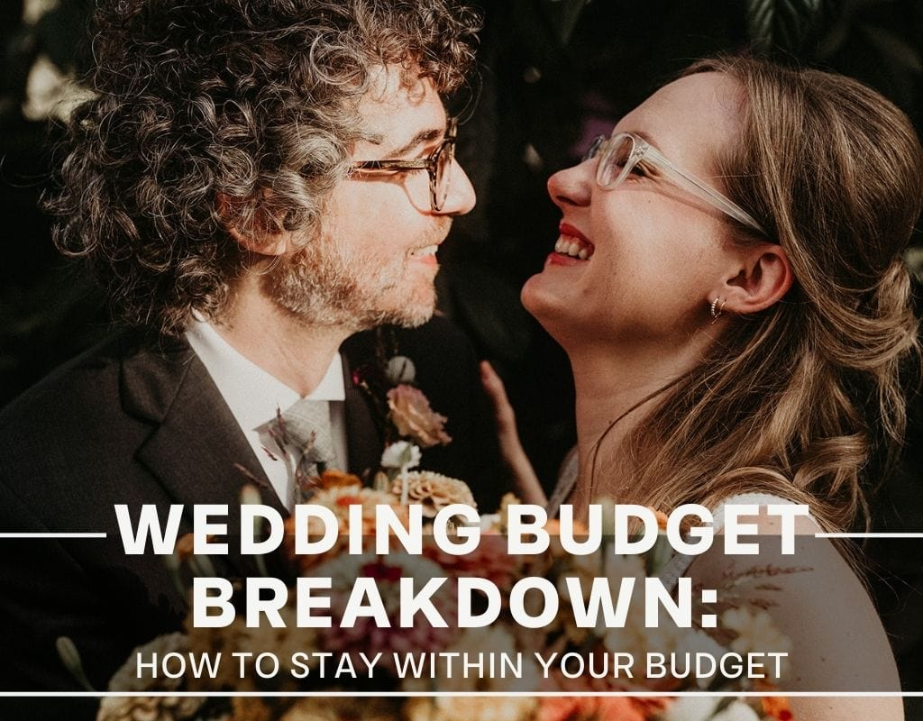 A close up of a bride and groom laughing with each other during their wedding photographed by Austin, Texas wedding photographer Nikk Nguyen. Image overlaid with text that reads Wedding Budget Breakdown: How to Stay Within Your Budget.
